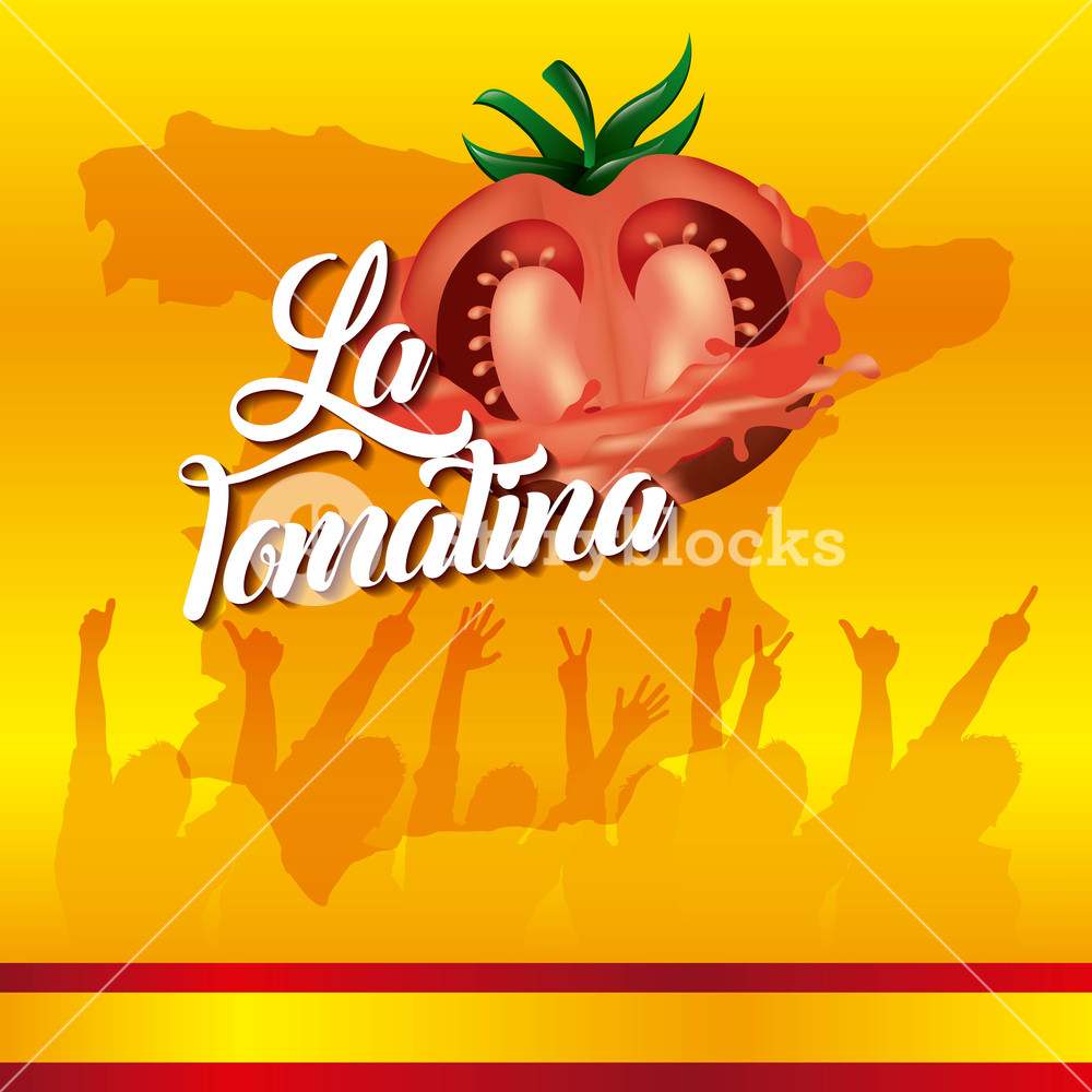 1000x1000 La Tomatina Yellow Background Festival People Hands Up Vector