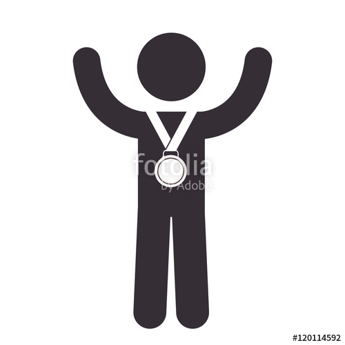 500x500 Winner Man With Award Medal Holding And Hands Up. Vector