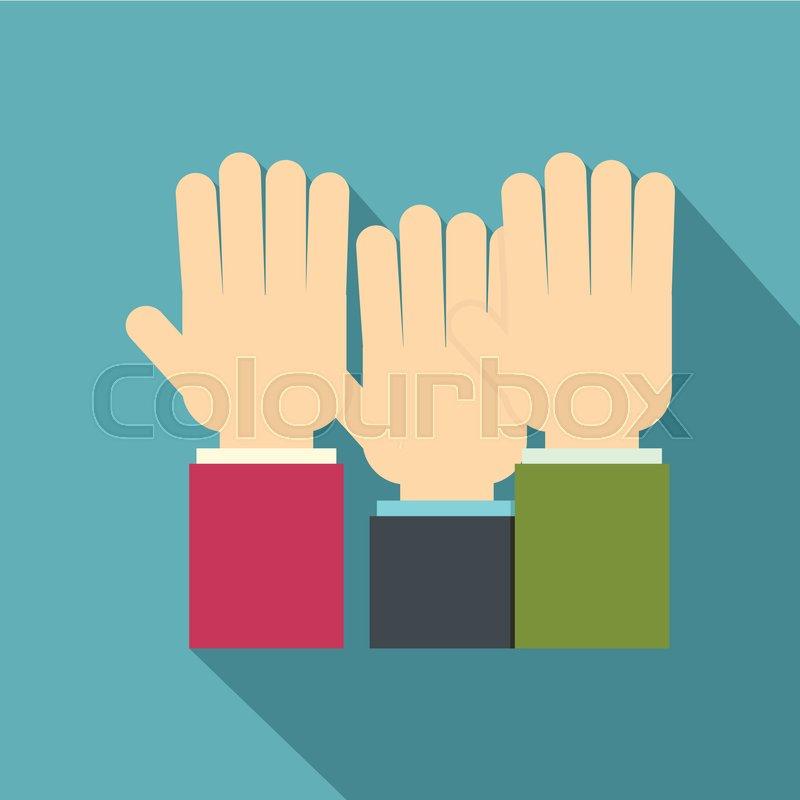 800x800 Businessmen Hands Up Icon. Flat Illustration Of Businessmen Hands