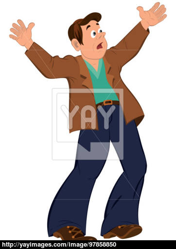 362x512 Cartoon Man With Open Mouth Holding Hands Up Vector