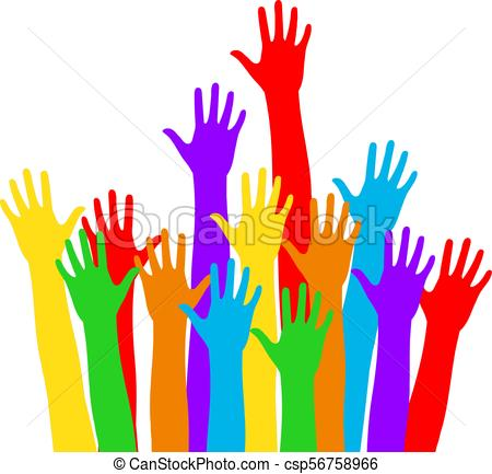 450x433 Colorful Hand Up Vector. Multi Color Hands Raised Up Waiting For Help.