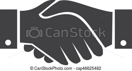 450x244 Handshake Icon In Black On A White Background. Vector Illustration.