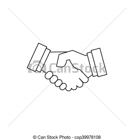 450x470 Handshake Icon In Outline Style On A White Background Vector