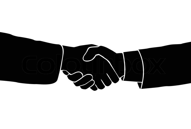 800x543 Handshake Icon Vector Sillouette Black Business Hands Shake Over