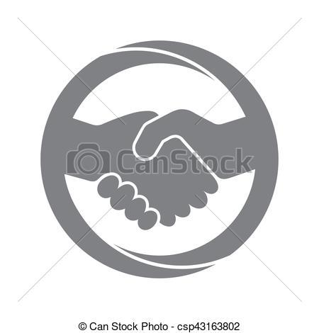 450x470 Handshake Icon. Vector Illustration. Abstract Gray Handshake Icon