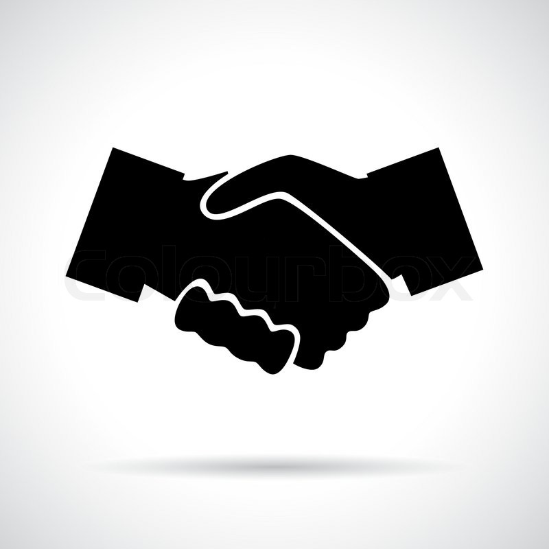 800x800 Handshake. Black Flat Icon With Shadow. Business, Agreement