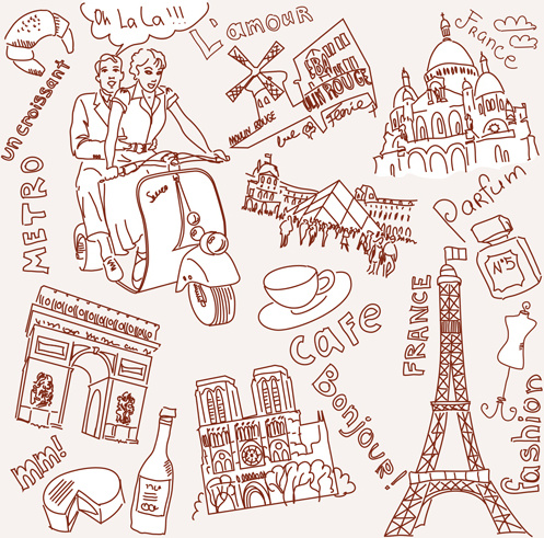 497x491 Handwriting Love With Paris Elements Vector Free Vector In