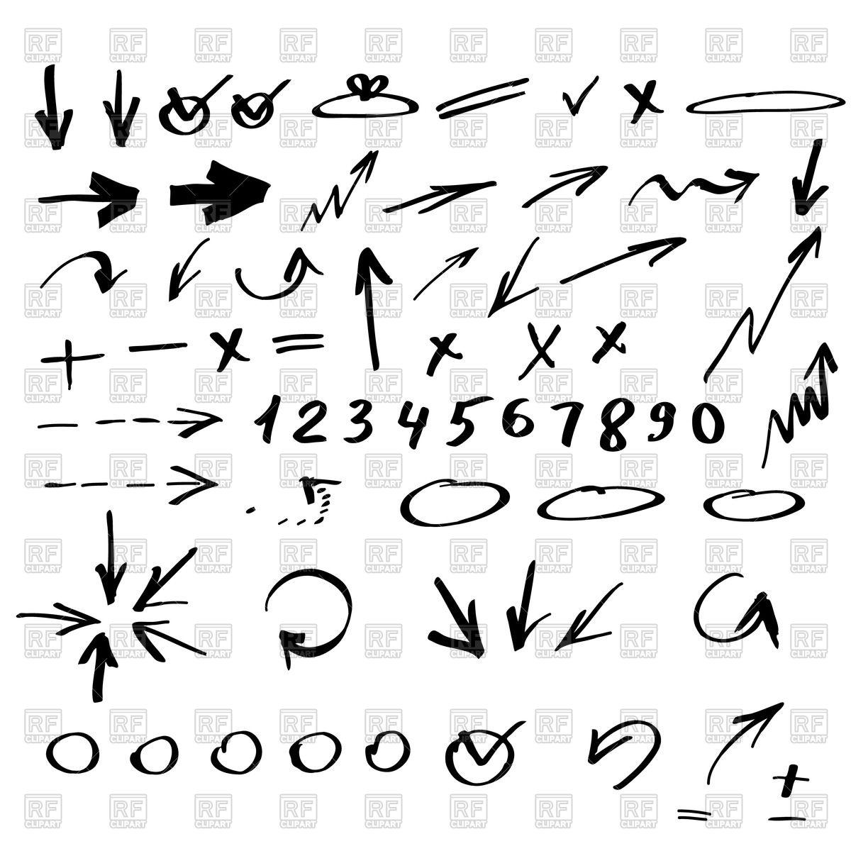 1200x1200 Handwritten Arrows, Signs, Symbols And Numerals Vector Image