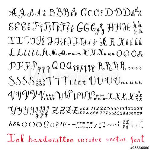 500x500 Handwritten Vintage Ink Cursive Vector Alphabet (Font) With