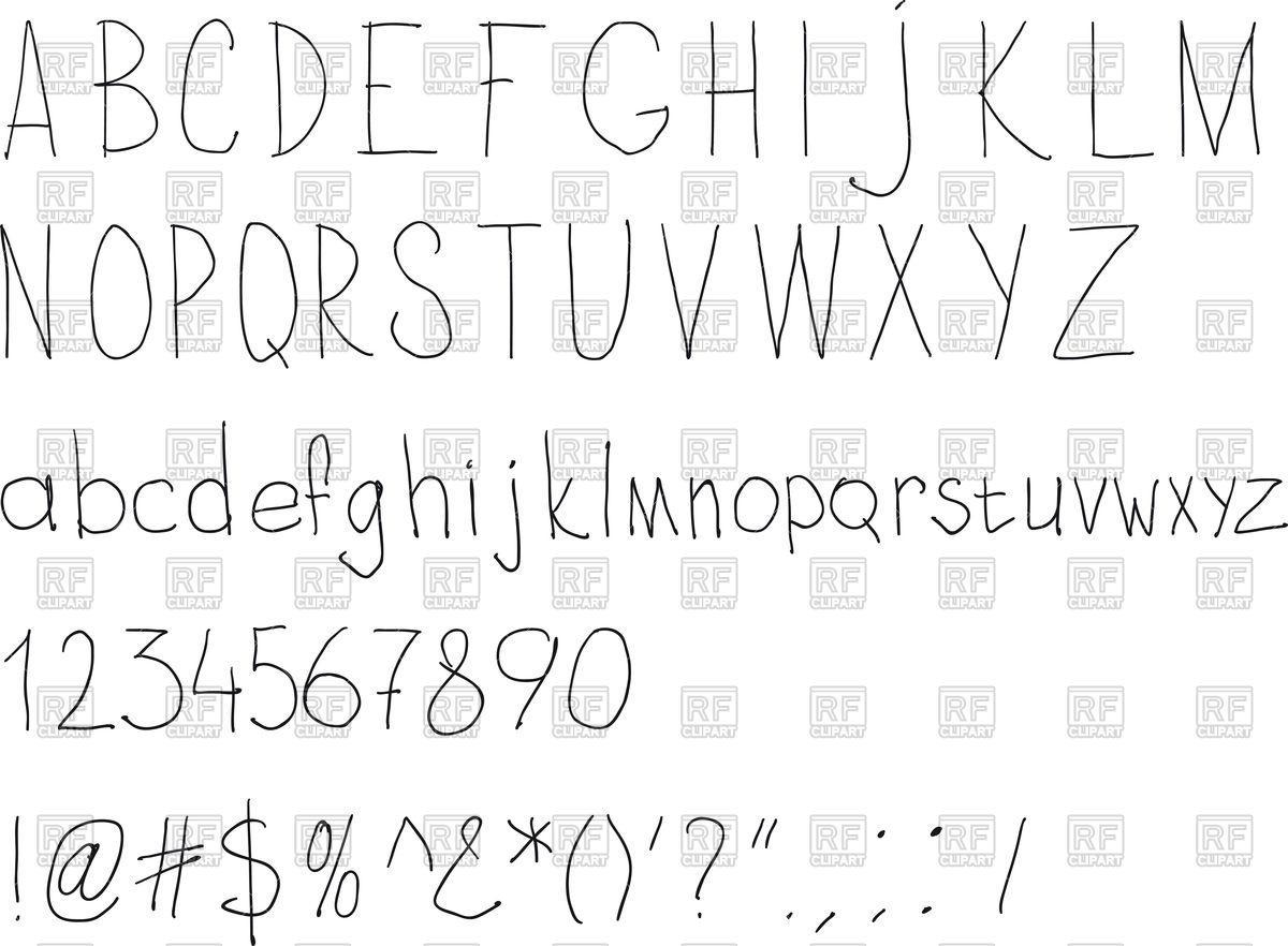 1200x882 Simple Sloppy Handwriting Alphabet Vector Image Vector Artwork