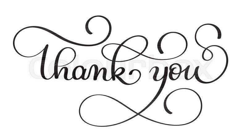 800x437 Thank You Handwritten Calligraphy Vector Text. Dark Brush Pen