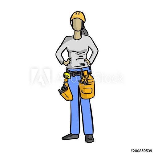500x500 Female Mechanic Or Plumber Handyman Vector Illustration Sketch affdf921197d
