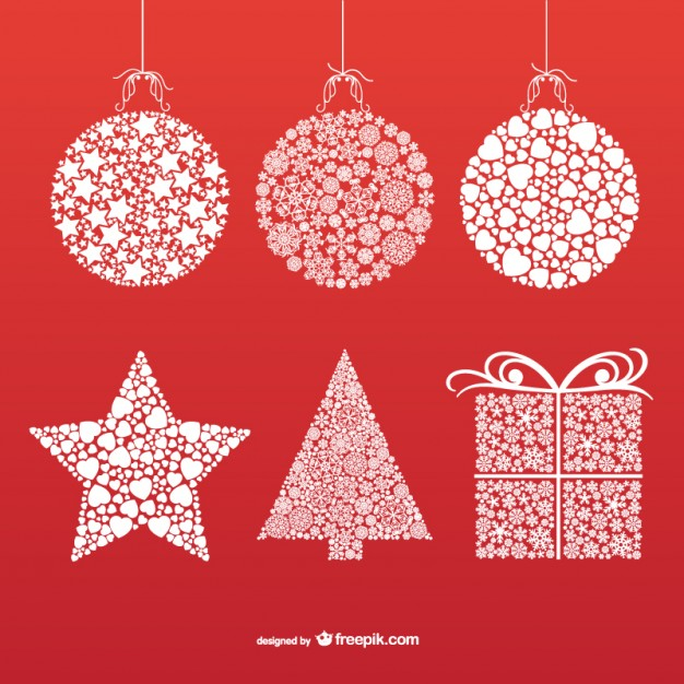 626x626 Christmas Ornaments With Snowflakes And Stars Vector Free Download