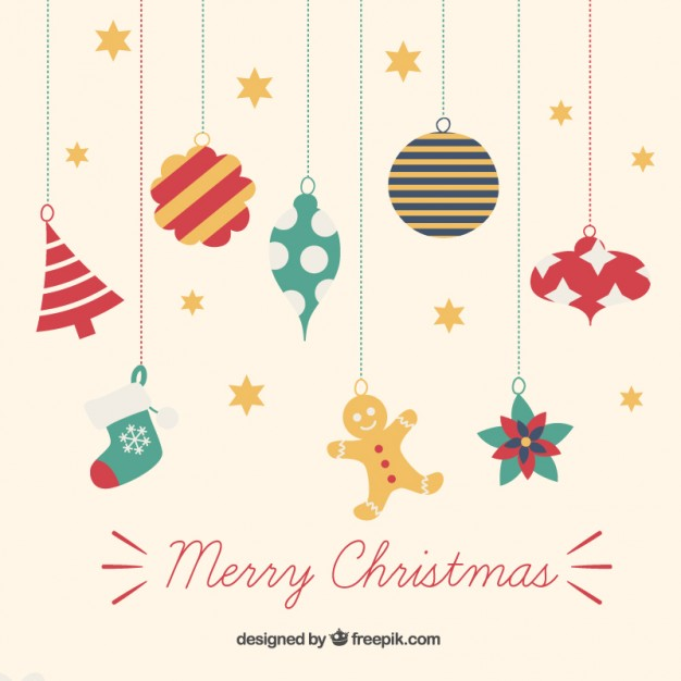 626x626 Colorful Hanging Christmas Ornaments Vector Free Download