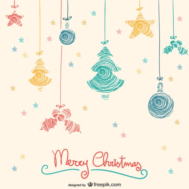 626x626 Colorful Hanging Christmas Ornaments Vector Free Vector Download