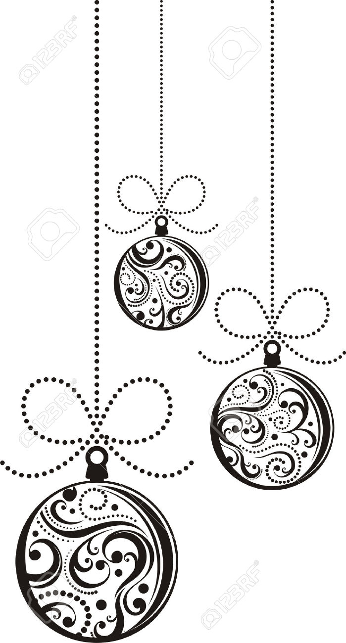 699x1300 Collection Of Hanging Ornaments Clipart Black And White High