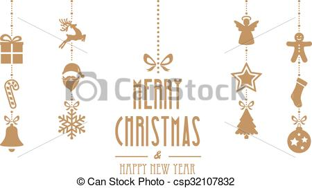 450x272 Merry Christmas Ornaments Hanging Gold Isolated Background.