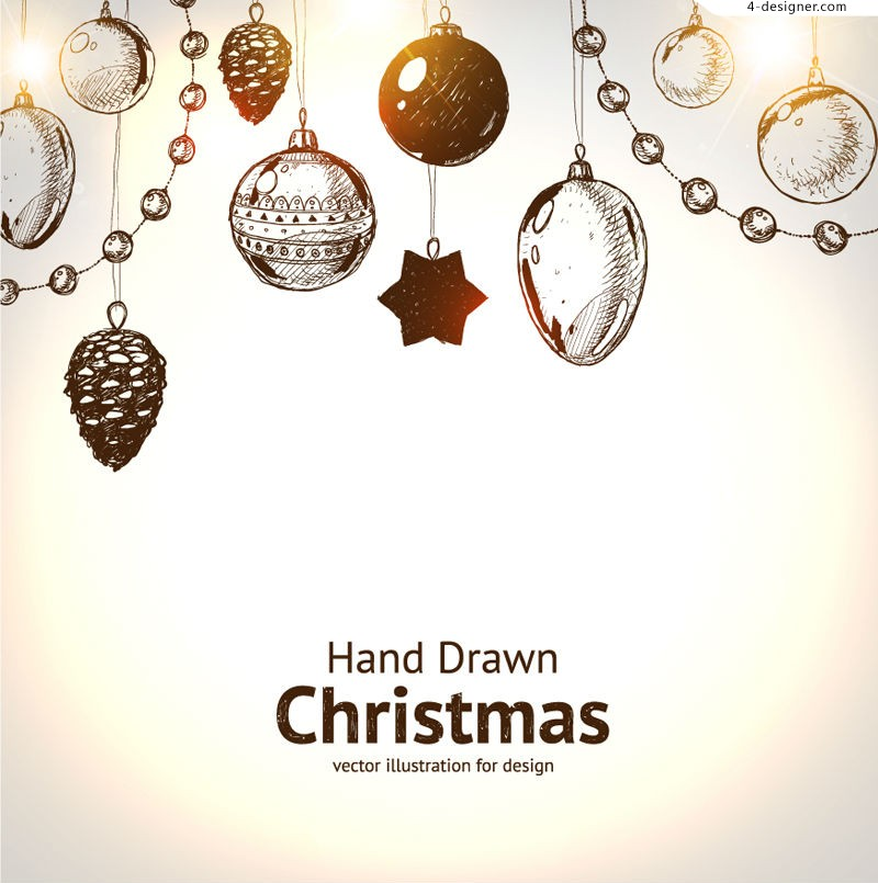 800x805 4 Designer Hand Painted Christmas Hanging Ornament Vector Material