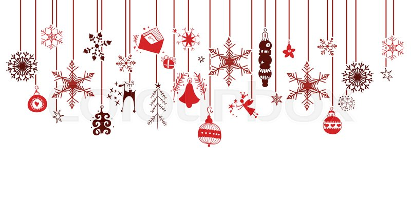 800x400 Various Hanging Christmas Ornaments With Red Icons In Versatile