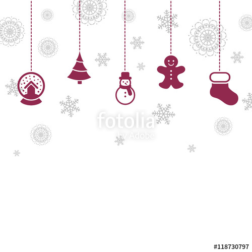 500x500 Vector Illustration Of A Christmas Card With Various Hanging