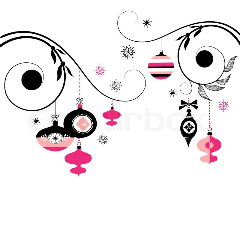 800x800 Black And Pink Christmas Ornaments Stock Vector Colourbox