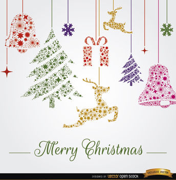 344x352 Christmas Ornaments Hanging Background Free Vector Download 341837