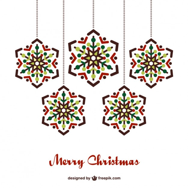 626x626 Christmas Card With Hanging Ornaments Vector Free Download