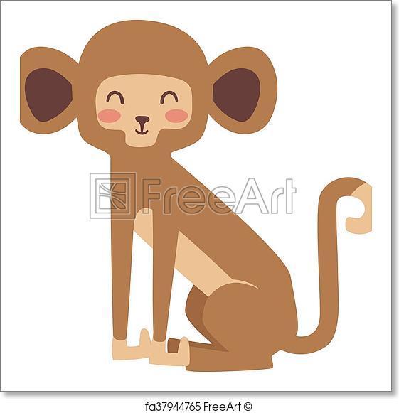 561x581 Free Art Print Of Monkey Vector Illustration. Cartoon Monkeys