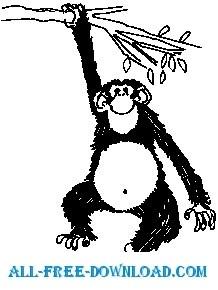218x290 Monkey Hanging On Tree 1 Free Vector 4vector