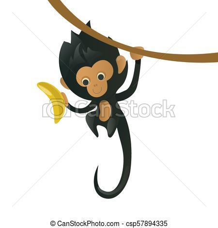 450x470 Vector Cartoon Monkey. A Cartoon Monkey With A Banana In His Paw