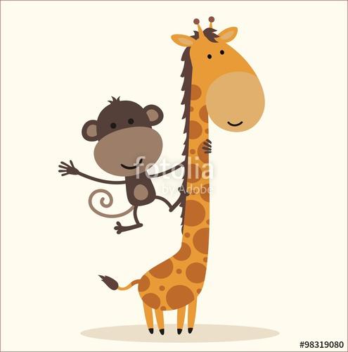 495x500 Cartoon Little Monkey Hanging On The Neck Of The Giraffe Stock