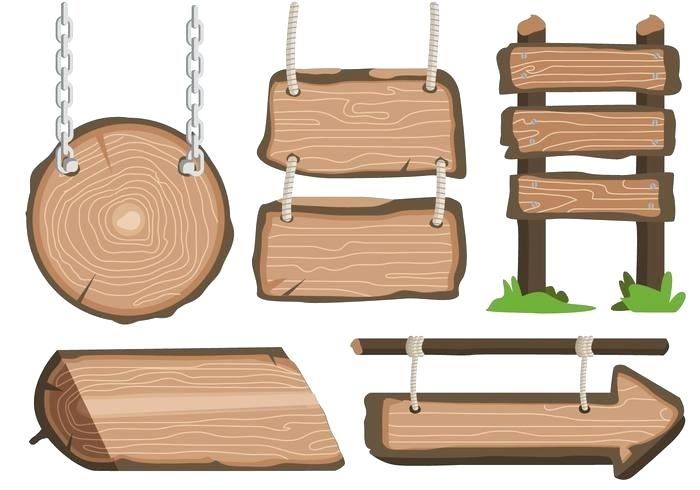 700x490 Wooden Hanging Sign Wooden Sign Hanging On A Chain Free Vector