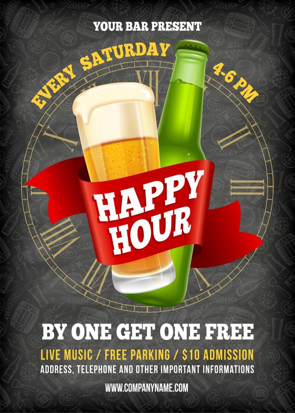 600x841 Happy Hour Beer Poster Template Vector 01 Free Download