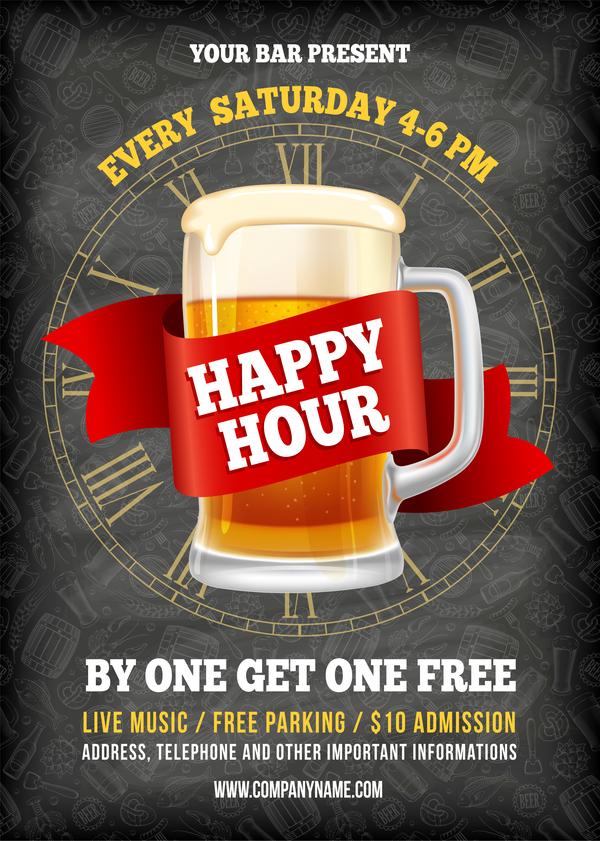 600x841 Happy Hour Beer Poster Template Vector 02 Free Download