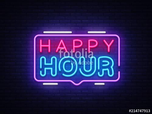 500x375 Happy Hour Neon Sign Vector Design Template. Happy Hour Neon Logo