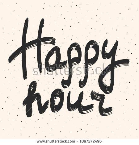 450x470 Happy Hour Calligraphy Phrase. Vector Hand Drawn Illustration