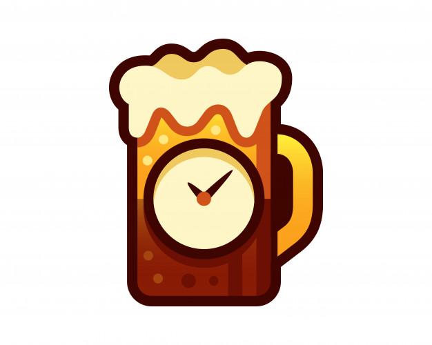 626x500 Happy Hour Glass Of Beer Vector Illustration Vector Premium Download