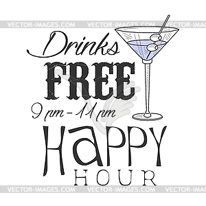 300x300 Bar Happy Hour Promotion Sign Design Template
