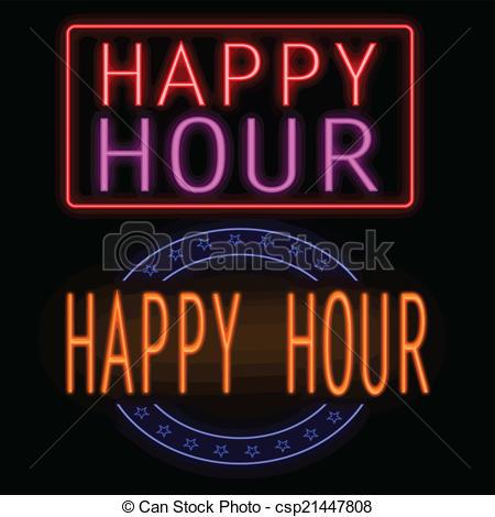 450x470 Happy Hour Neon Sign. Happy Hour Glowing Neon Sign On Black