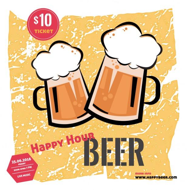 626x626 Happy Hour Of Beer Vector Free Download
