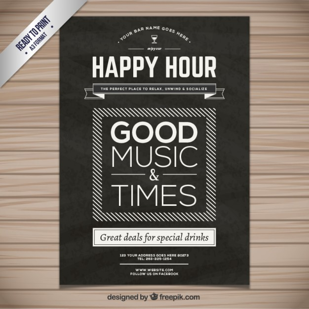 626x626 Happy Hour Poster Vector Free Download
