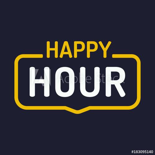 500x500 Happy Hour. Vector Badge Illustration On Dark Background.