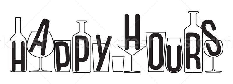800x288 Happy Hours Design. Vector Illustration For Pubs, Nightclubs, Bars