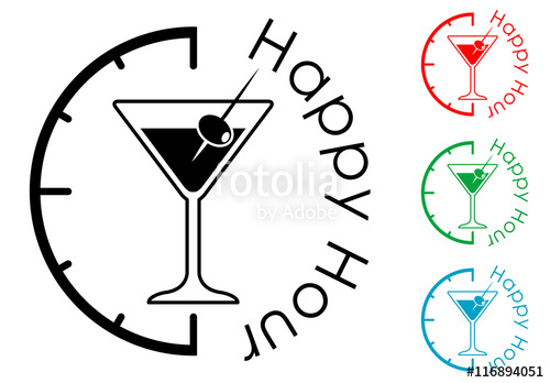 500x348 Icono Plano Happy Hour Con Coctel Con Aceituna Varios Colores