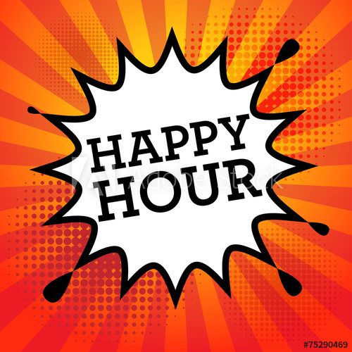 500x500 Comic Book Explosion With Text Happy Hour, Vector