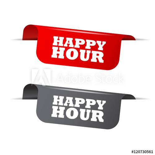 500x500 Happy Hour, Red Banner Happy Hour, Vector Element Happy Hour
