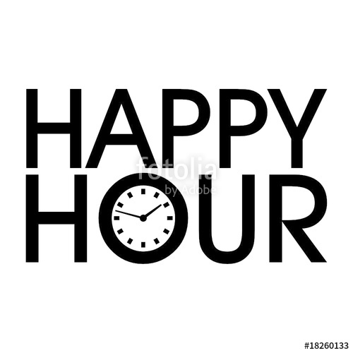 500x500 Schrift Happy Hour Mit Uhr Stock Image And Royalty Free Vector