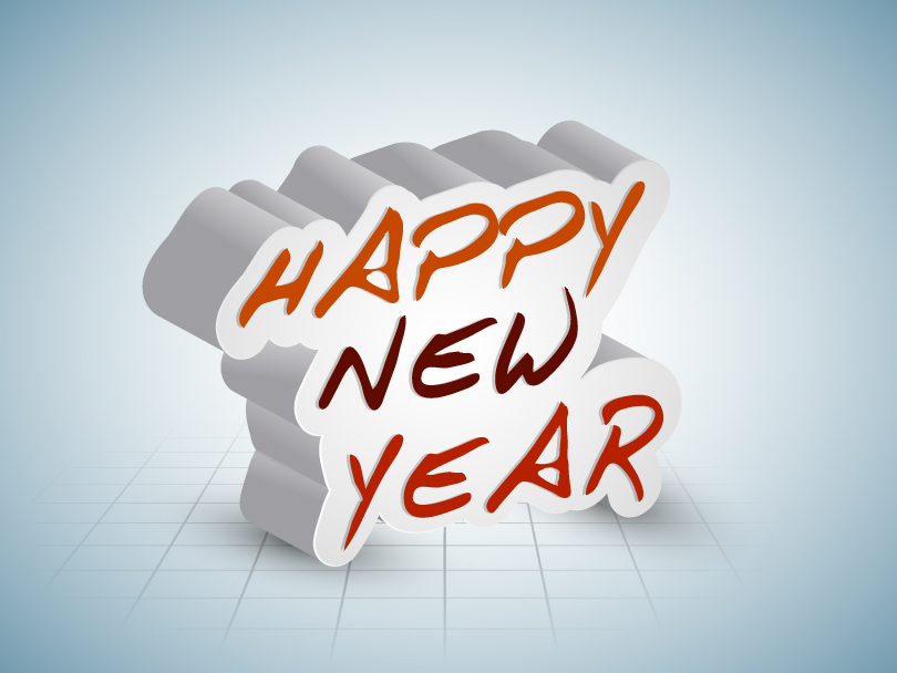 810x608 Happy New Year 2014 3d Shadow Vector Free Vector Graphic Download