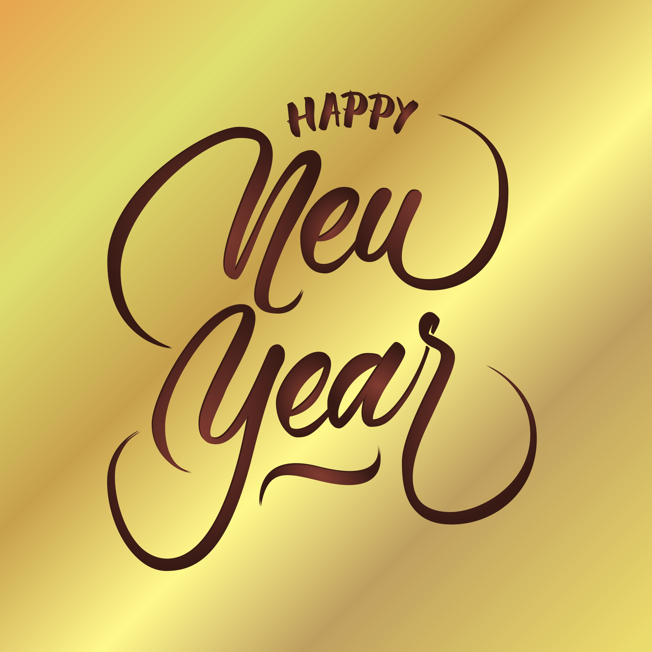 2222x2222 Happy New Year Vector Hand Lettering