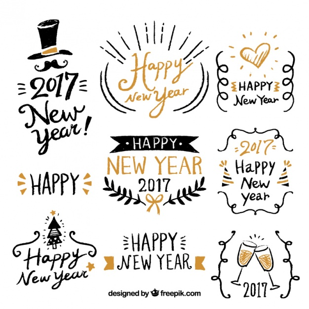 626x626 Happy New Year With Fantastic Hand Drawn Labels Vector Free Download